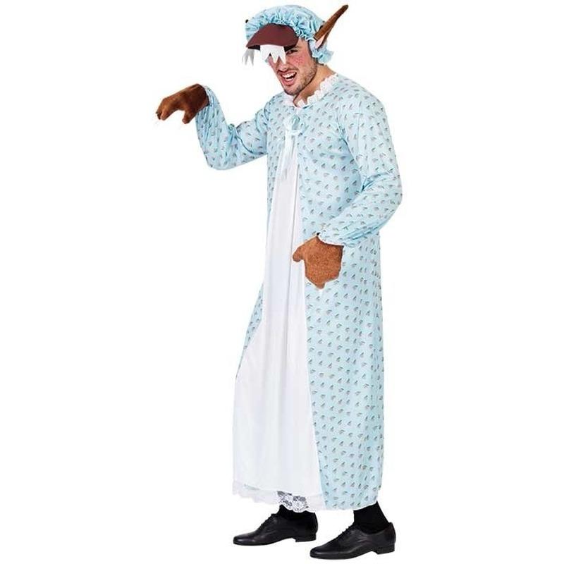 Carnavalspak wolf in oma pyjama