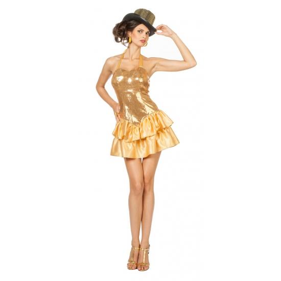 Circus dame jurkje met gouden pailleten voor vrouwen