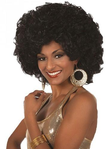 Groovy afro pruik dames zwart
