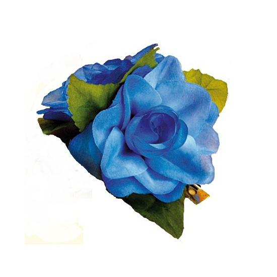 Hawaii bloemen haarklem blauwe roos