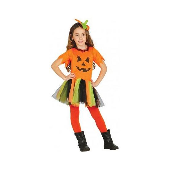Kinderkostuum oranje pompen jurkje