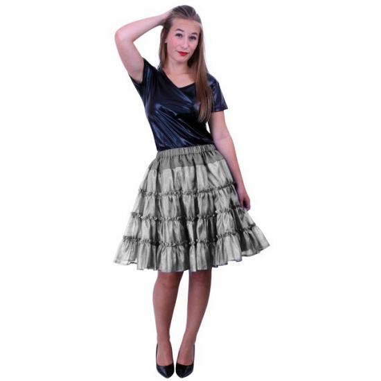 Lange petticoat zilver met 5 lagen