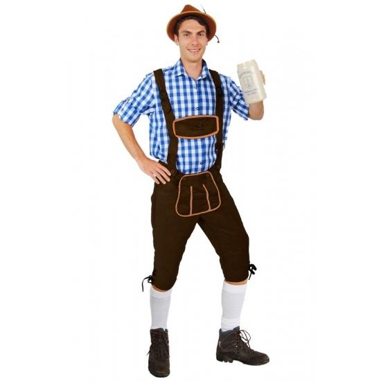 Oktoberfest Lange lederhose Andreas donkerbruin voor heren
