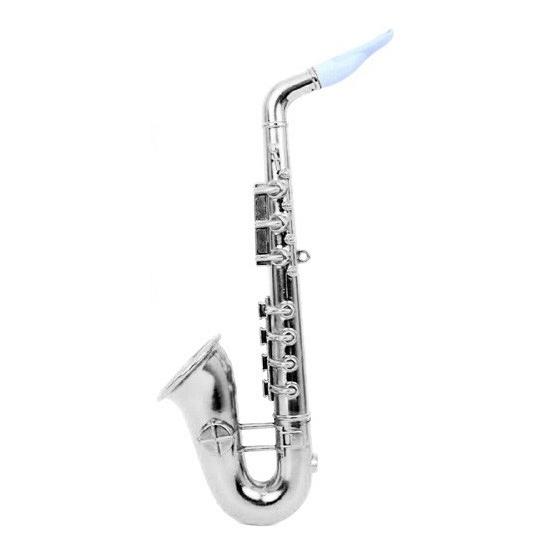 Plastic saxofoon zilver 37 cm