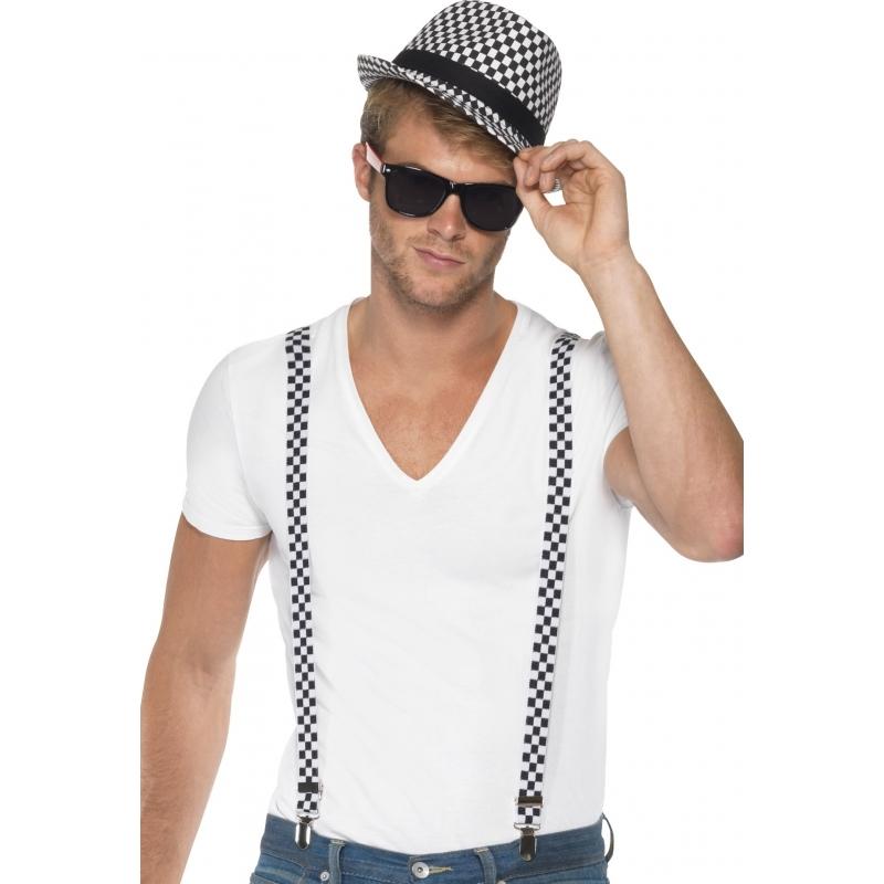 Verkleed Geblokte bretels met hoed