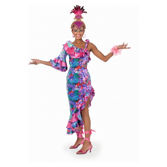 Verkleedkleding Fleurige salsa jurk