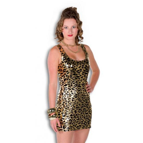 Verkleedkleding Gouden jurkje met panterprint
