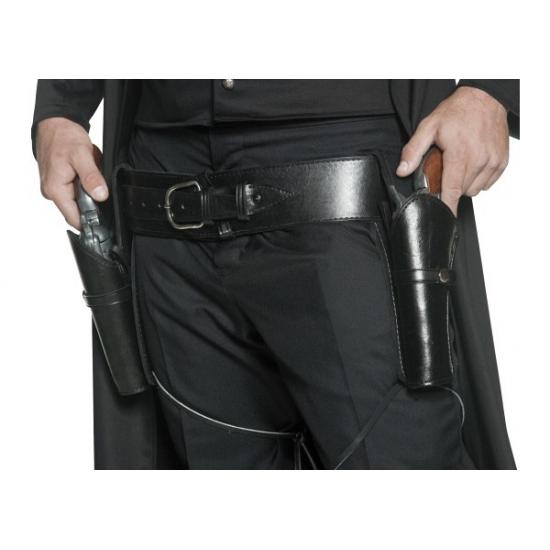 Western riem zwart met holsters