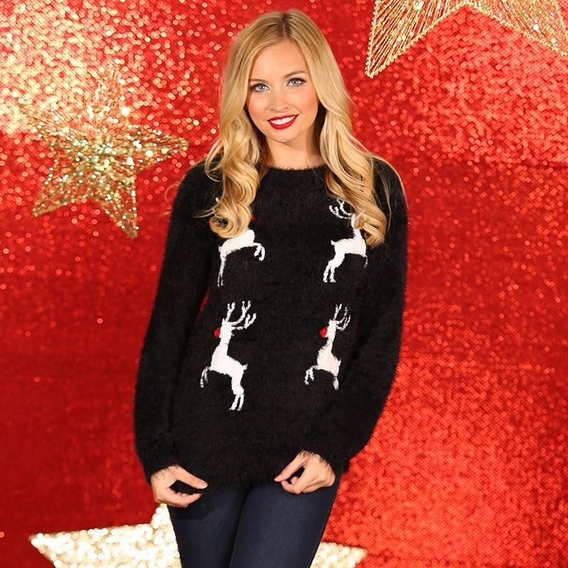 Zwarte dames kerstmis trui met rendieren