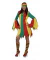 Jurk in carnaval kleuren met wijde mouwen