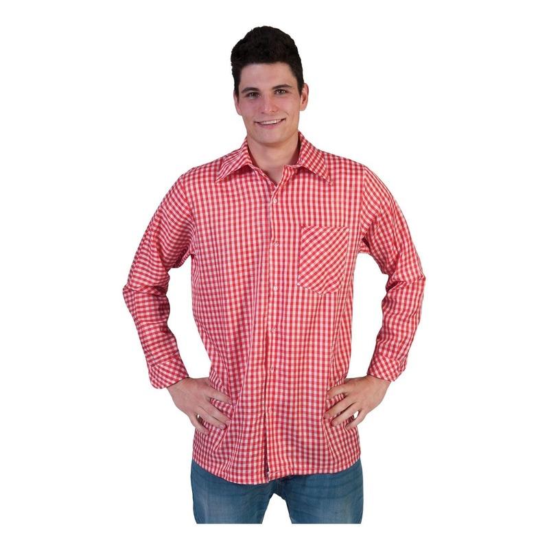 8d5208d3f15 Rode geruite feest blouse voor heren - Overhemden/Shirts ...