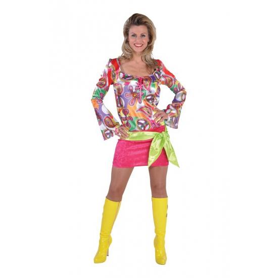 c8918db720df2d Verkleedkleding Seventies hippie jurkje met print - Dames ...