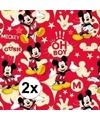 2x Disney inpakpapier Mickey Mouse rood 200 x 70 cm op rol