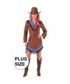 Grote maten cowgirl jurkje bruin voor dames