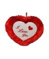 Pluche rood hart kussen I Love You 45 cm