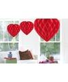 Valentijn 3x Hangende hartjes deco bollen rood 30 cm