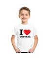 Wit I love voetbal t-shirt kinderen