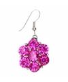 Zilveren prinsessen oorbellen roze bloem voor volwassenen