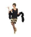 Zwart-gouden jaren 20 flapper jurk voor dames