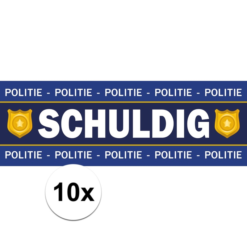 10 x Schuldig stickers voor politie/agent kostuum