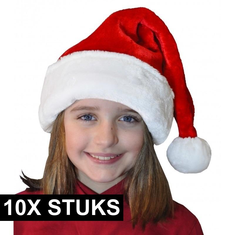 10x Pluche luxe kerstmutsen rood/wit voor kinderen