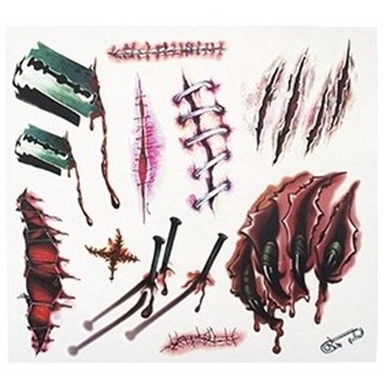12x Nep tattoos horror/halloween verkleed bloed en wonden