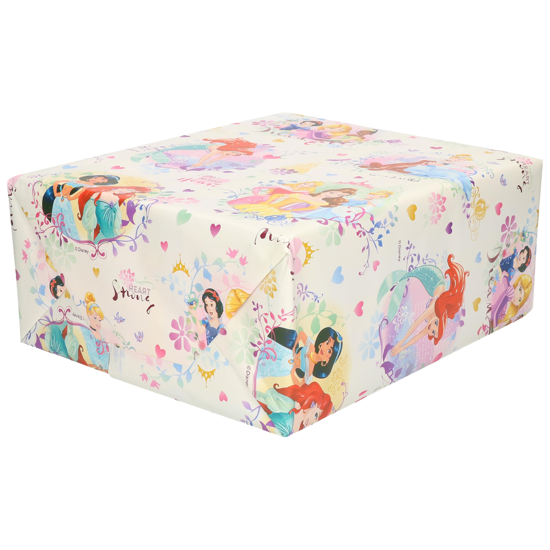 1x Rollen inpakpapier/cadeaupapier Disney met Prinsessen roze 200x70 cm