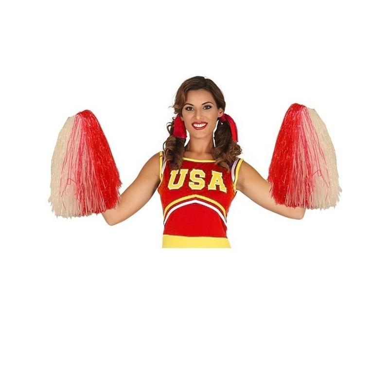 2 stuks cheerleader cheerballs rood/wit  33 cm