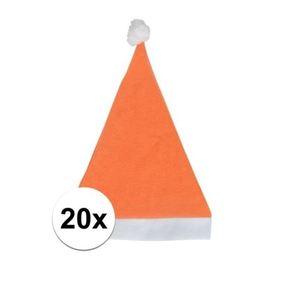 20x Oranje voordelige kerstmuts voor volwassenen