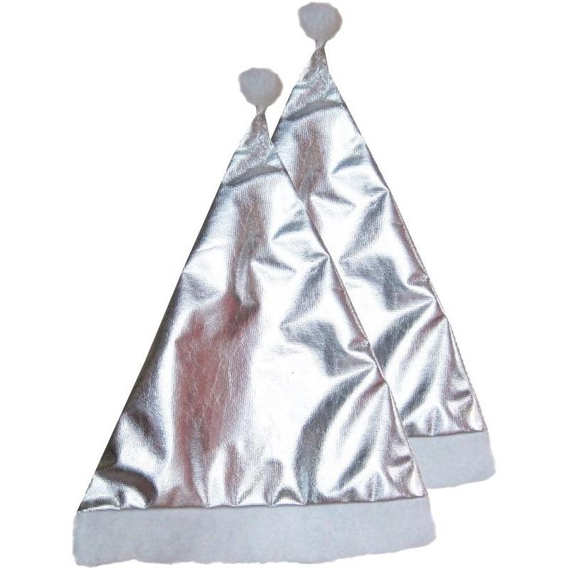 2x Feest kerstmutsen zilver