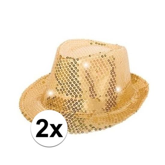 2x Gouden pailletten hoedjes met LED licht