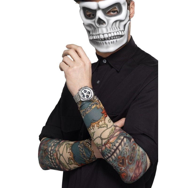 2x Tattoo sleeves Day of the Dead voor volwassenen