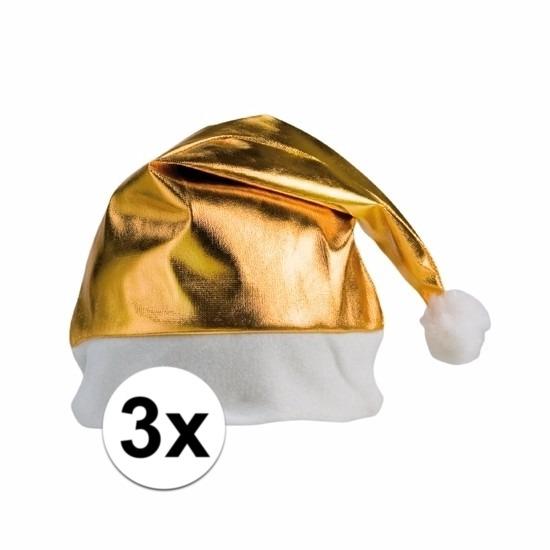 3x gouden kerstmuts voor volwassenen