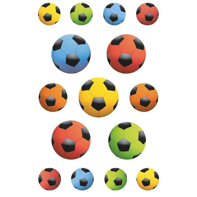 45x Gekleurde voetballen stickers