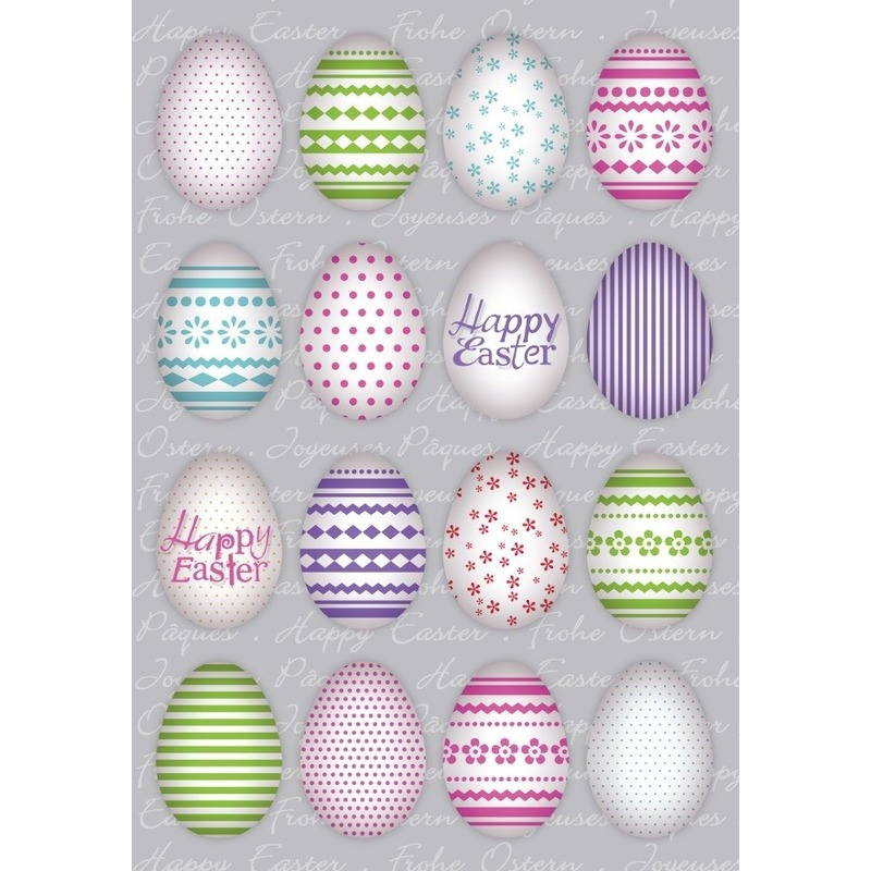 48x Gekleurde paaseieren Vrolijk Pasen stickers