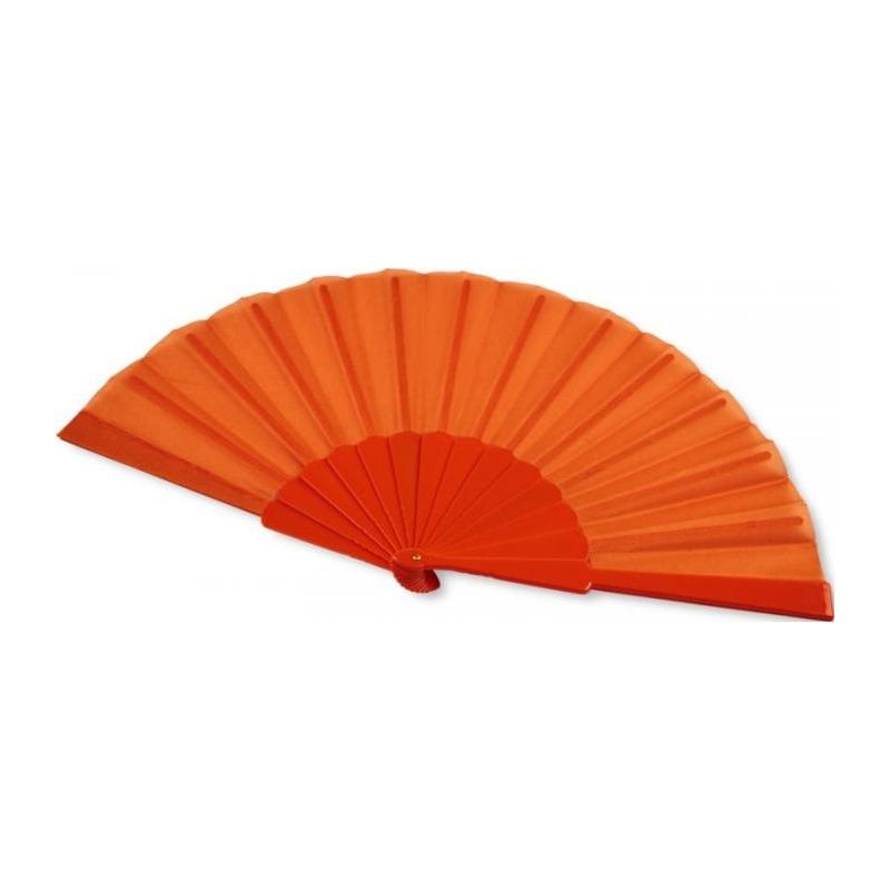 4x stuks spaanse hand waaiers oranje  43 x 23 cm