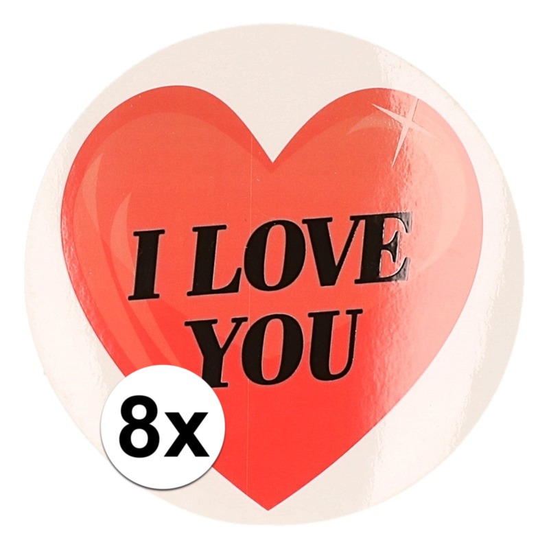 8 x Cadeaustickers I Love You hart 9 cm