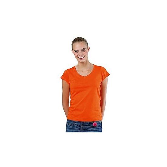 Basic dames shirts bodyfit oranje