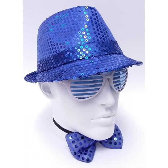 Blauwe party hoed met glitters
