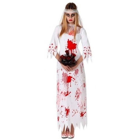 Bloederige zombie/spook bruid verkleed kostuum voor dames