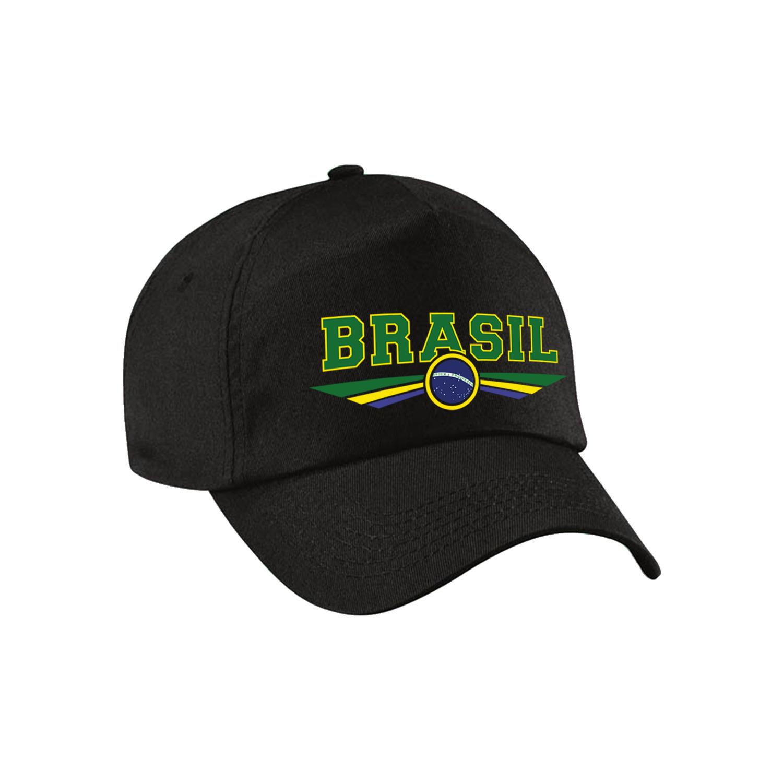 Brazilie - Brasil landen pet - baseball cap zwart kinderen