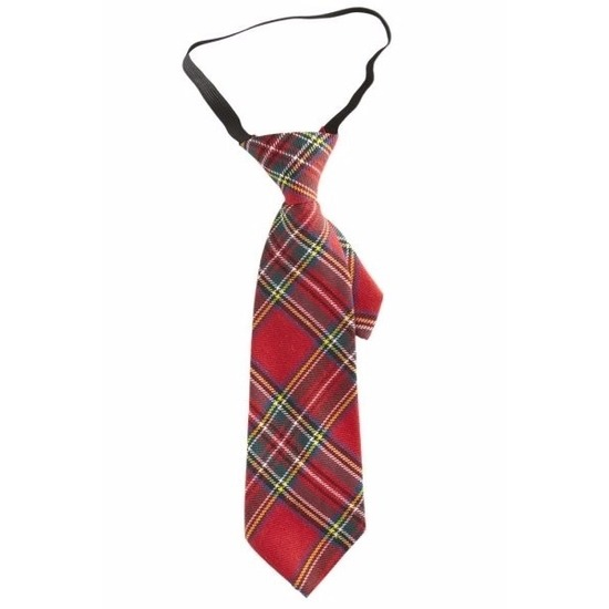 Carnaval geruite feest stropdas rood