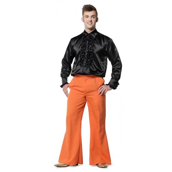 Carnaval oranje lange broek wijde pijpen