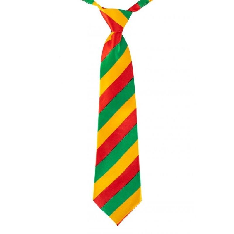 Carnaval stropdas rood/geel/groen gestreept 40 cm