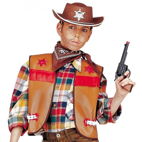 Carnavalskleding bruin cowboy vestje voor kids