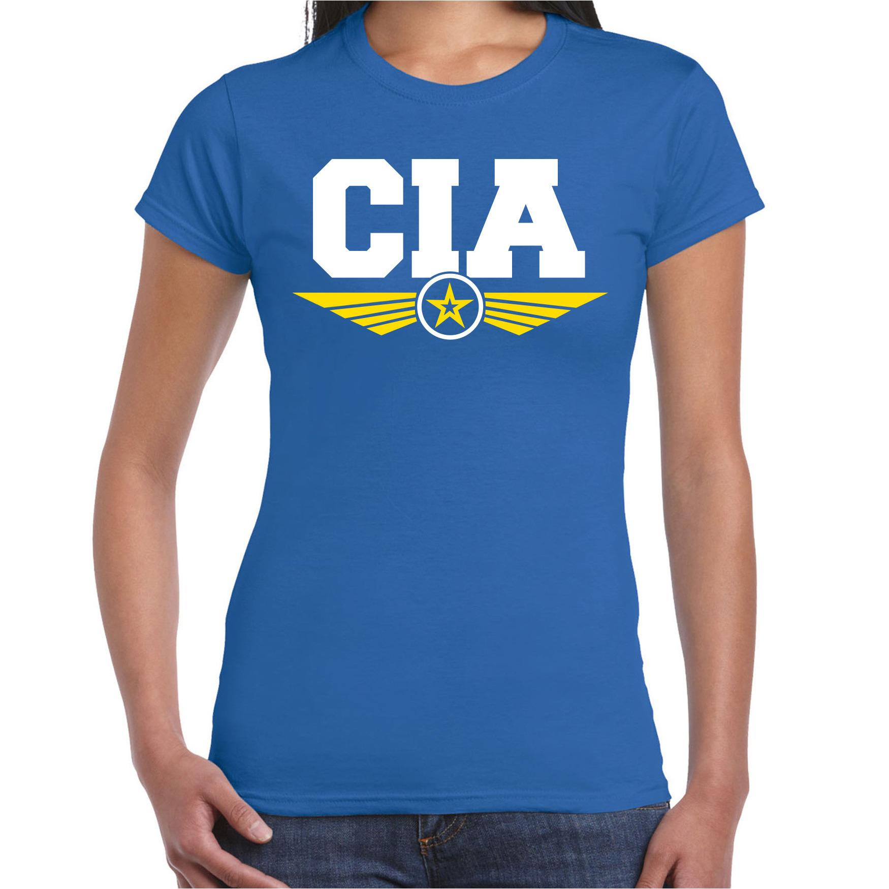 CIA agent tekst t-shirt blauw voor dames