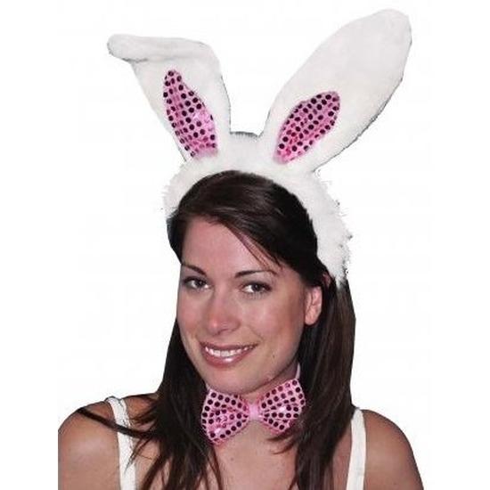 Diadeem konijn/haas verkleedset oren voor volwassenen
