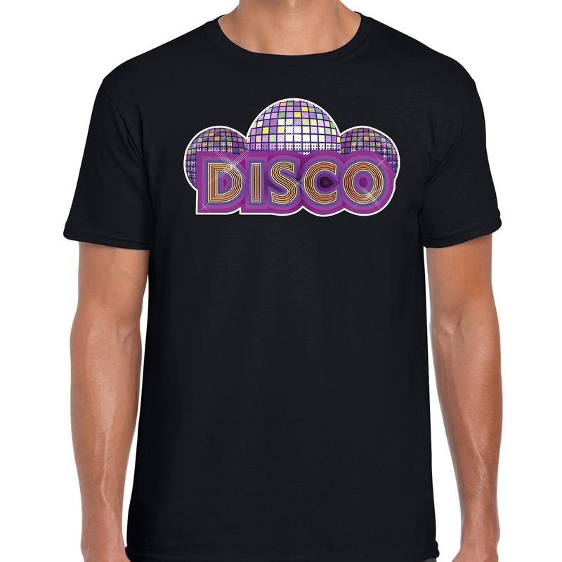 Disco feest t-shirt zwart voor heren