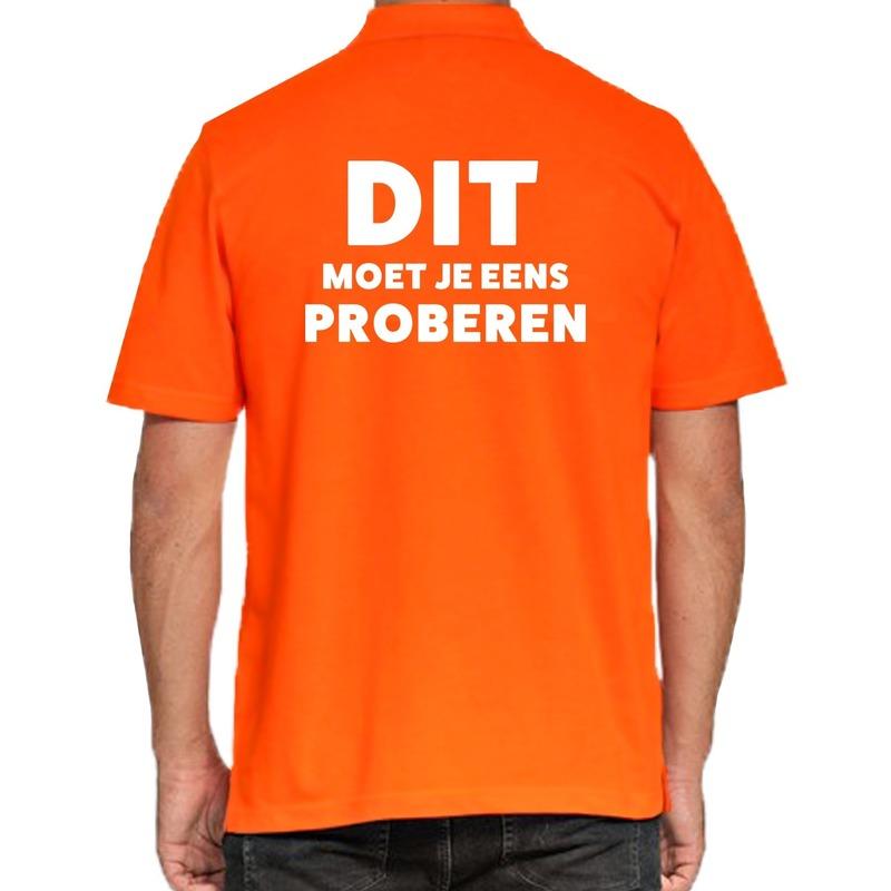 Dit moet je eens proberen beurs/evenementen polo shirt oranje vo