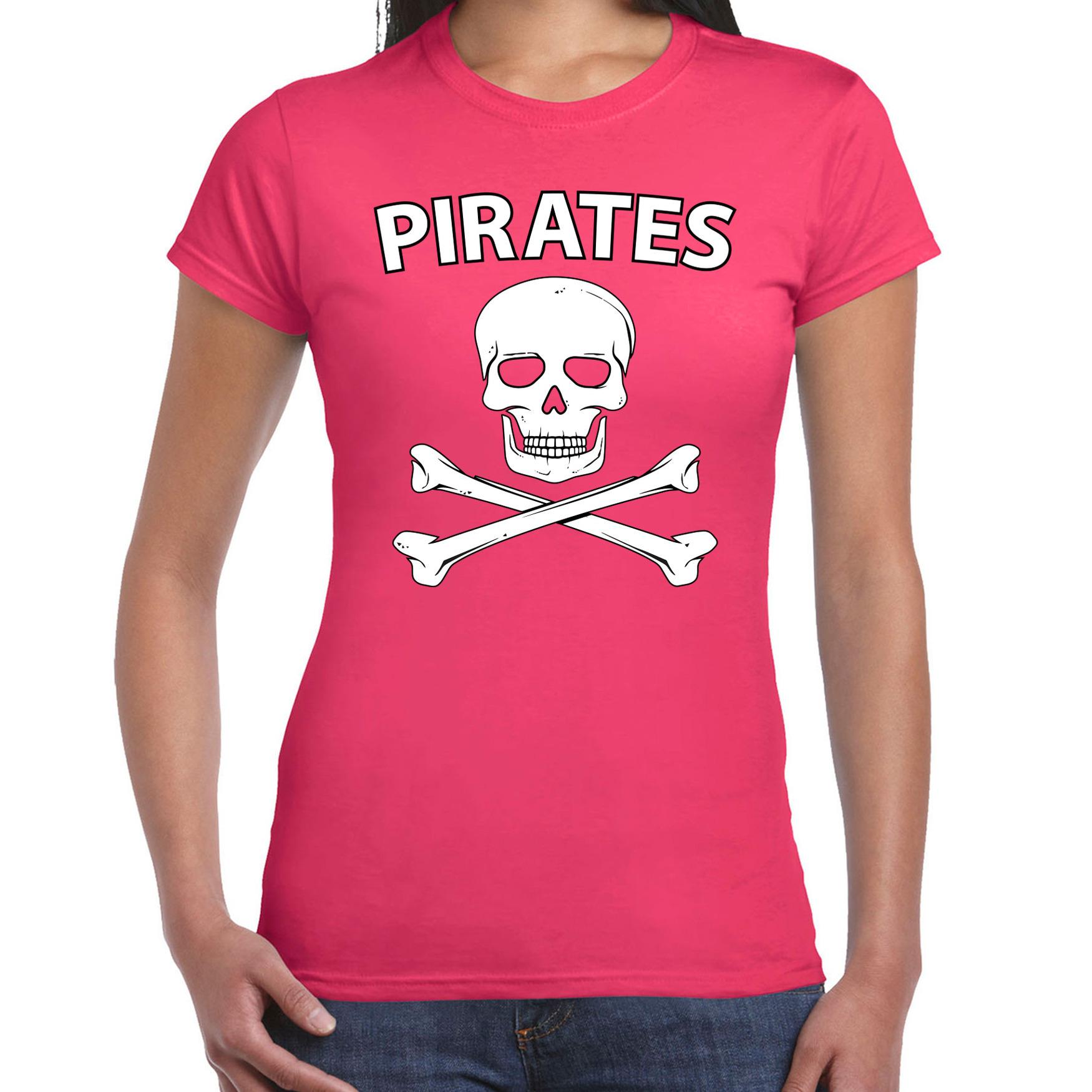 Fout piraten shirt - foute party verkleed shirt roze dames